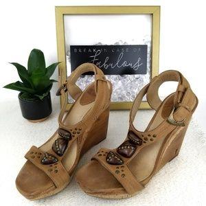 Frye light brown and oak wooden wedge heels